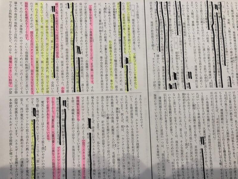 著者の意見をピンクの蛍光ペンで塗りつぶす