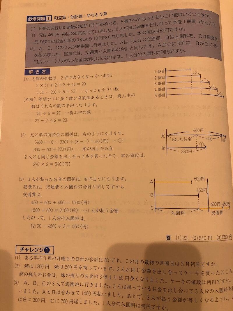 四谷大塚予習シリーズ小学6年生算数(上)和差算