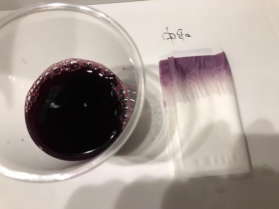 クエン酸水と重曹水の中和水溶液をウェルチに入れた