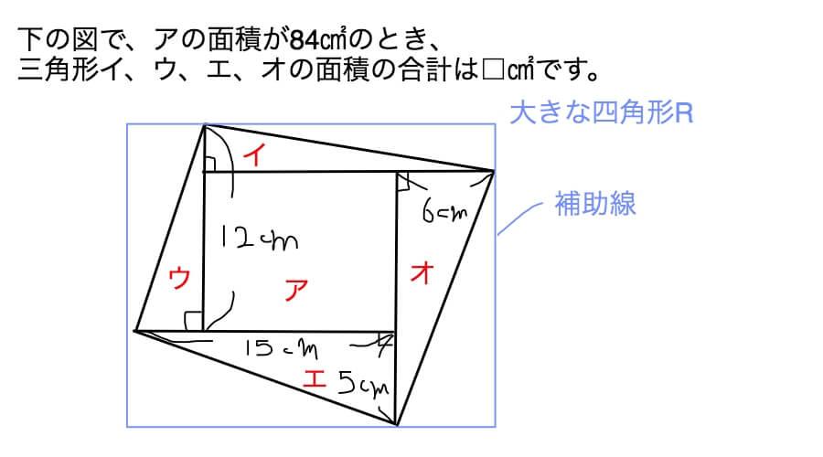少し難しい四角形の問題に補助線を引いた