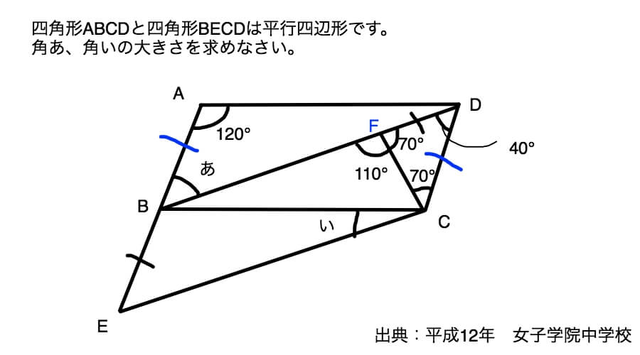 同じ長さの辺を見つけたあと、二等辺三角形を発見するまで