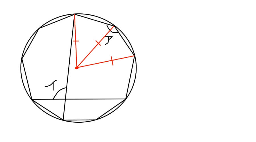 正九角形の問題に中心点を打って半径を引いた